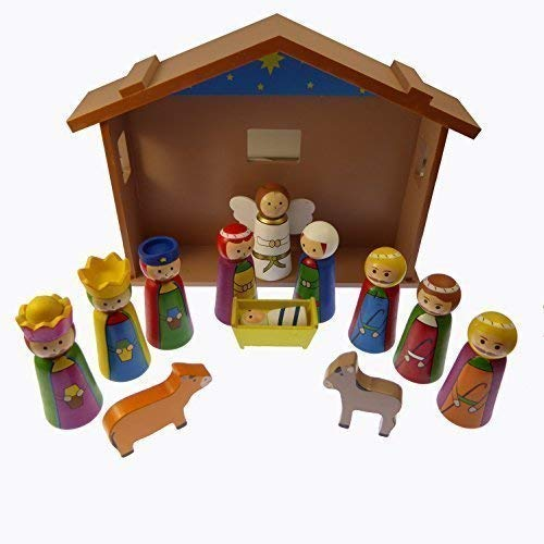 4 Children's Christmas Nativity scene set ornament wooden shed Jesus 12 pieces by C BC by Rosary Heaven