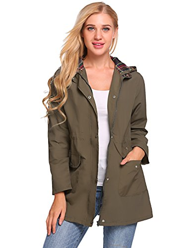 SoTeer Women's Versatile Militray Anorak Parka Hoodie Jackets with Drawstring -