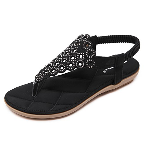 Rhinestones Ladies Sandals - CARETOO Ladies Flat Sandals Shoes, Women Fashion T Strap Summer Flip Flops Sandal, Rhinestone Bling Backstrap Beach Sandal Black