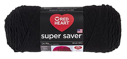 Red Heart Yarn Super Saver Yarn 312 Black, Teal (Yarn Knitting Black)