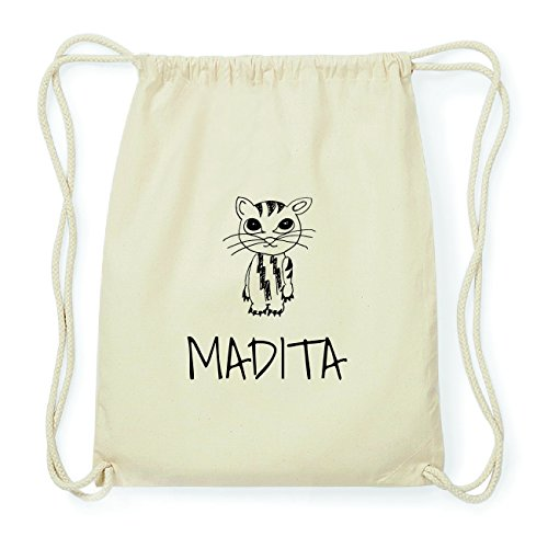 JOllipets MADITA Hipster Turnbeutel Tasche Rucksack aus Baumwolle Design: Katze cSiEEyWe