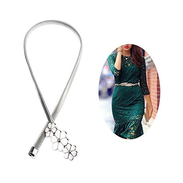 Ouinne 2 Pezzi Foglia Cinture da Donna Eleganti Donna Elastica Decorativa in Vita Alta Metallo Cintura