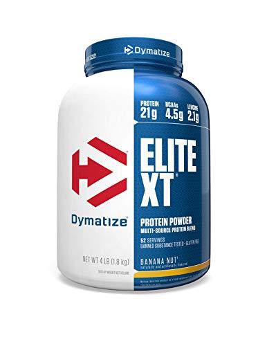 Dymatize Elite XT Protein Powder, Multi-Source Protein, 21g Protein, 4.5g BCAAs & 2.2g L-Leucine, with Slower Absorbing Casein, Banana Nut, 4 Pound