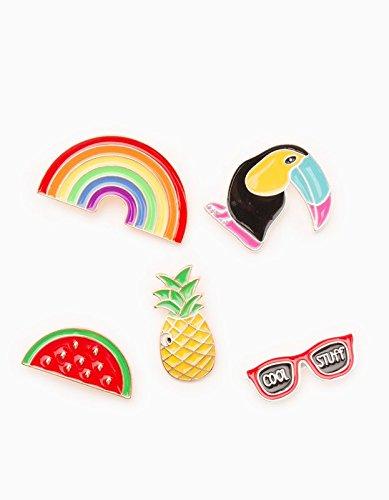 48 new rainbow watermelon pineapple fruit glasses woodpeckers small collar pin brooch badge women girls female accessories