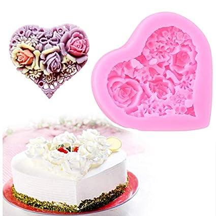 Amazon Com Cake Molds Heart Shaped Roses Soap Mold Chocolate
