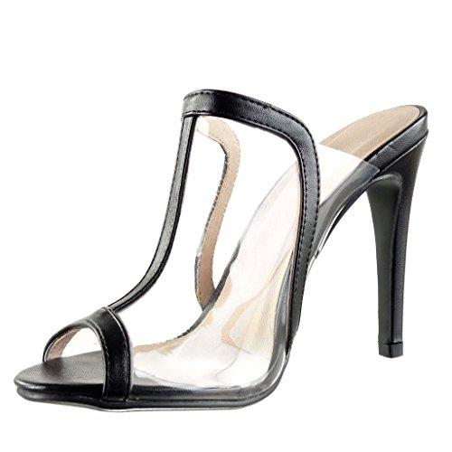 Angkorly Women's Fashion Shoes Sandals Pump Court Shoes - t-Bar - Stiletto - Sexy - Transparent Stiletto High Heel 11.5 cm Black nvrUe