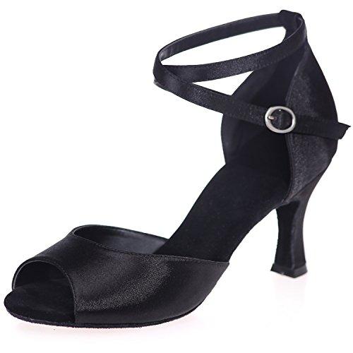 7 pour Danse 5cm Chaussures Ruched Elobaby Haut Talon Prom A8349 Jazz Toes Cross Talon Femmes Buckle Peep Satin Black De qEEZacwt