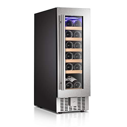 Antarctic Star Wine Cooler Refrigerator Fridge 18 Bottles 12 Single Zone Wine Cellar Built-in Freestanding Wine Chiller with Stainless Steel Digital Memory Wood Shelves Silver 19 Bottle
