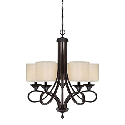 "Westinghouse 6302900 Lenola 5 Light 7"" Wide Single Tier Shaded Chandelier with F,"