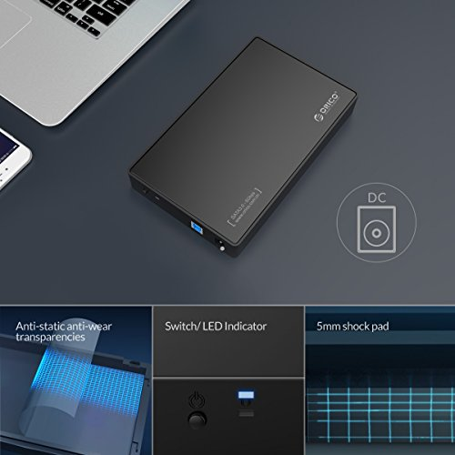 ORICO Toolfree USB 3.0 to SATA External 3.5 Hard Drive Enclosure Case for 3.5 SATA HDD and SSD[Support UASP and 8TB Drives] by ORICO (Image #4)