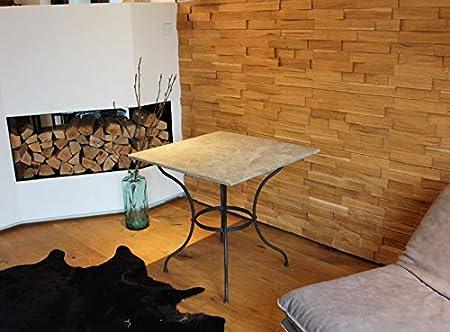 CALEIDO Dublin - Mesa de jardín (hierro, con placa de piedra, cuadrada): Amazon.es: Hogar