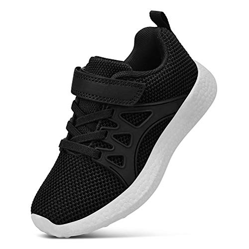Feetmat Boys Sneakers Lightweight Breathable Straps Kids Tennis Shoes for School Black White 11.5 ()