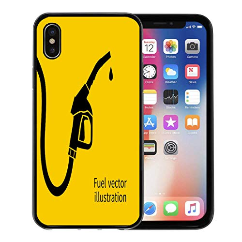 - Emvency Phone Case for Apple iPhone Xs Case/iPhone X Case,Yellow Diesel Fuel Pump Petrol Station Sign Gas Gasoline Soft Rubber Border Decorative, Black