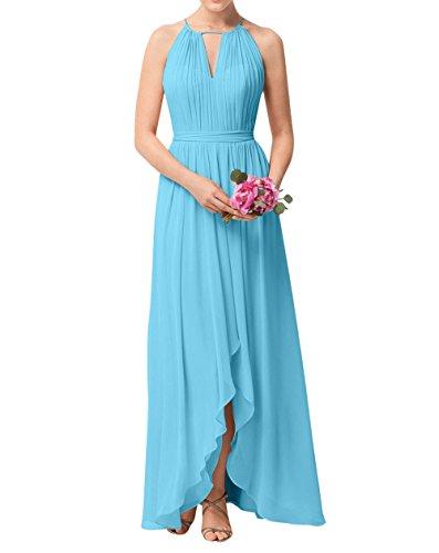Brau Blau La Partykleider Abendkleider Festlichkleider mia Brautjungfernkleider Langes Chiffon Linie A Einfach Rock Aw57w