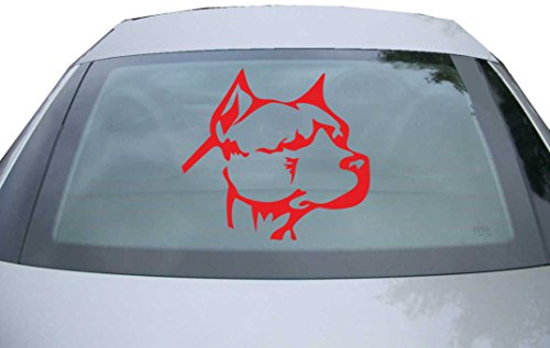 INDIGOS UG Sticker for rear window & engine flap DE2280 - red - 600x550 mm - Pitbull Kopf - for car, windows, tailgate, tuning, racing, JDM/Die cut