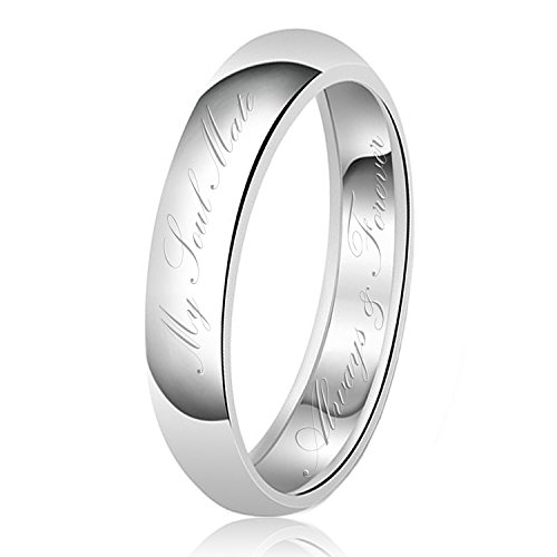 5mm My Soul Mate Always & Forever Engraved Classic Sterling Silver Plain Wedding Band Ring, Size 5