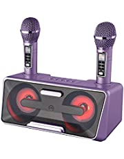 $134 » Portable Karaoke Machine for Kids & Adults - Best Birthday Gift w/Bluetooth Speakers, 2 Wireless Microphones, LED Lights, Tablet Holder, PA System & Karaoke Song Mode!