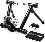 Alpcour Fluid Bike Trainer Stand – Portable Stainless Steel Indoor Trainer w/ Fluid Flywheel, Noise Reduction,