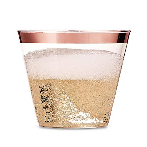 (100 Rose Gold Plastic Cups - 9 Oz Disposable Decorations Rose Gold Cups - Party Drinking Glasses for Wedding, Baby & Bridal Shower, Engagement,)