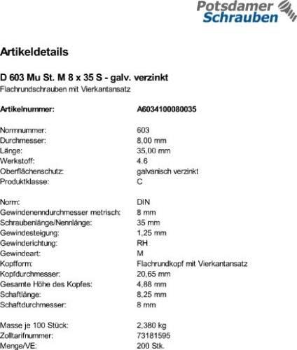 Mutter DIN 603 verzinkt M8x35 200 Schlo/ßschrauben