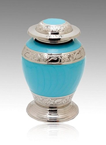(Memorials4u Avondale Blue and Silver cremation Urn, Infant urn, Brass Urn, Handcrafted and Engraved - Affordable Urn for Infant Ashes)