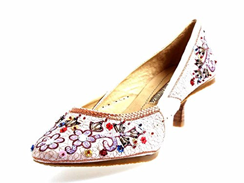 Buffalo Bunter Pumps Leder Pailetten Schuhe für Damen Satin 4907-1 Pink