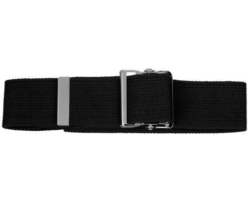 Prestige Medical Cotton Gait Belt with Metal Buckle, Black