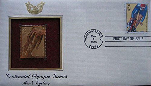 1996 Centennial Olympic Games Mens Cycling 22kt Gold GOLDEN replica Cover STAMP