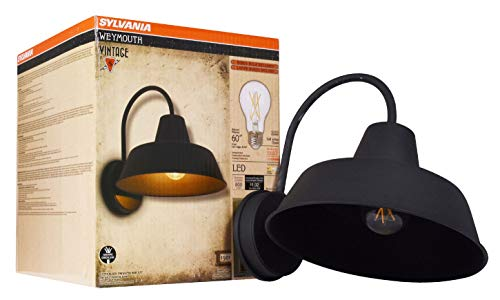 Sylvania 60121 Weymouth Sconce Light, LED, Flush Mount, Dimmable Bulb Included Vintage Fixture Antique Black