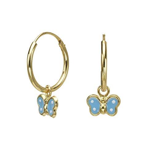 14K Solid Yellow Gold Hoop Charm Earrings Animals Annabelle Butterfly Children Girls Child Teen ()