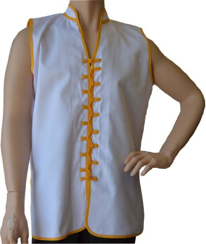 "Sleeveless Uniform Top V-neck in White w/Gold-Adult Medium (top height:28.5"", chest:42"")"