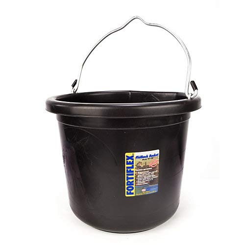 - Fortiflex Flat Back Feed Bucket for Dogs/Cats and Small Animals, 24-Quart, Black