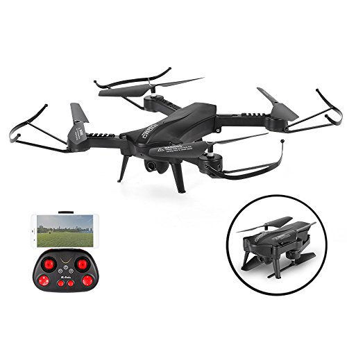 SZJJX RC Drone Quadcopter with HD Camera 2.4Ghz Foldable WiFi FPV VR Helicopter 6-Axis Gyro 4CH with Adjustable Wide Angle SJ60 Black