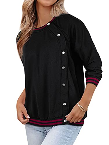 MYMORE Womens Sweatshirt Black Long Sleeve Crewneck Button Down Pullover Tops