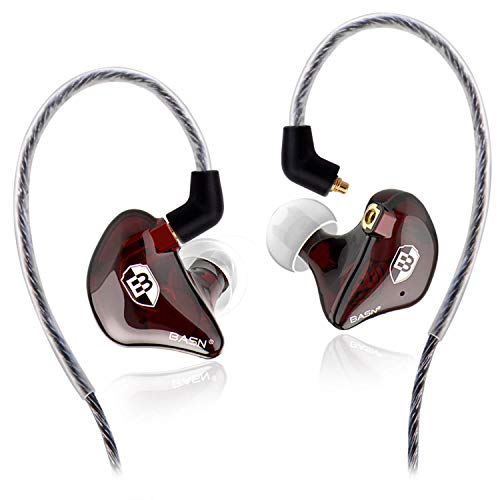 BASN High-Definition in Ear Monitor Headphones for Musicians with Detachable MMCX Earbuds; Dual Dynamic Drivers and Noise-Isolating (Red)