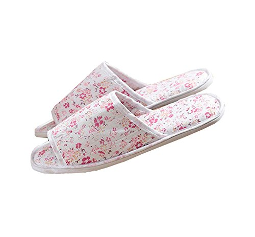 5 Pairs Red Floral Non-slip Hotel / Travel / Home Disposable Slippers QR1Ek