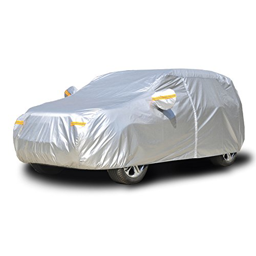 Kayme Car Covers for Automobiles Waterproof All Weather Sun Uv Rain Protection with Zipper Mirror Pocket Fit SUV Jeep (188 to 200 Inch) YXL
