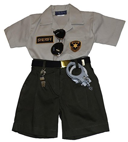 Childrens 6 Piece Replica Sheriffs Shirt & Shorts Outfit Made in the USA (Child Size 2) (Girls Police Outfit)