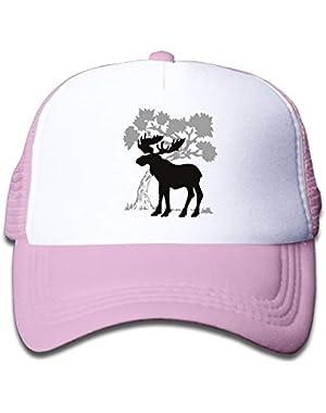 Moose On Children's Trucker Hat, Youth Toddler Mesh Hats Baseball Cap