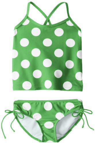 Kanu Surf Little Girls' Alexa Beach Sport 2-Piece Banded Tankini Swimsuit, Beachball Green Dot, 5 ()