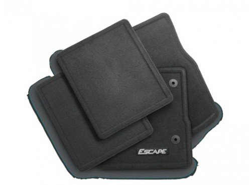 Ford 2013-2016 Escape Carpeted Floor Mats Charcoal Black Front & Rear w Logo -