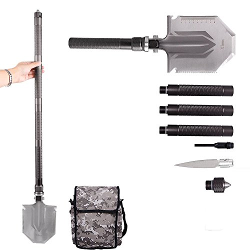 Military Folding Shovel with Carrying Pouch ,Xben Outdoor High Strength Multifunctional Entrenching Snow Spade for Camping Gardening Hiking Backpacking Ideal Car Emergency Tool Kit