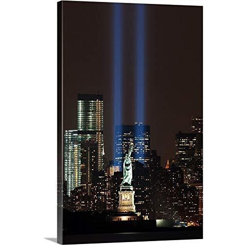 World Trade Center Memorial Lights and Statue of Liberty, New York City Canvas Wall Art Print.