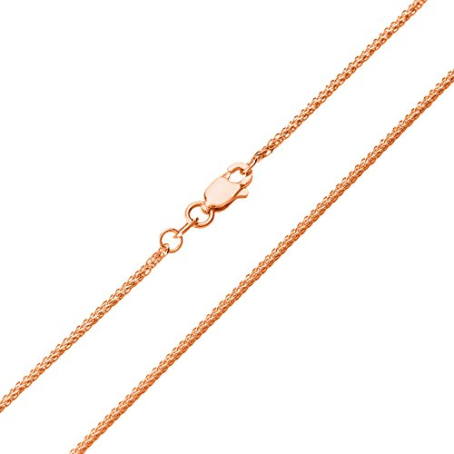 - 14K Rose Gold 1mm Wheat Chain with Lobster Clasp Necklace, 18