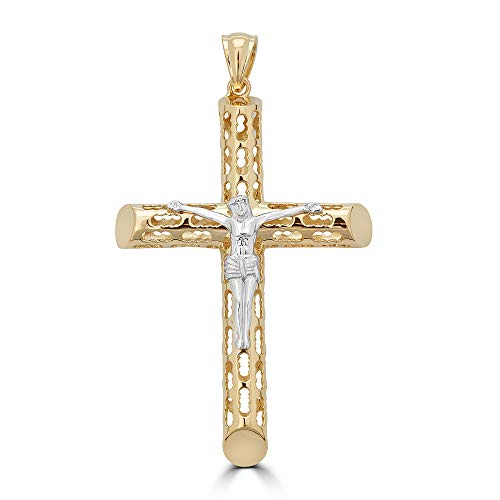 Harlembling 14k Yellow Gold Over Solid 925 Sterling Silver Men's Cross with Jesus Pendant - Comes with Rope Chain - Medium/Large Crucifix ()
