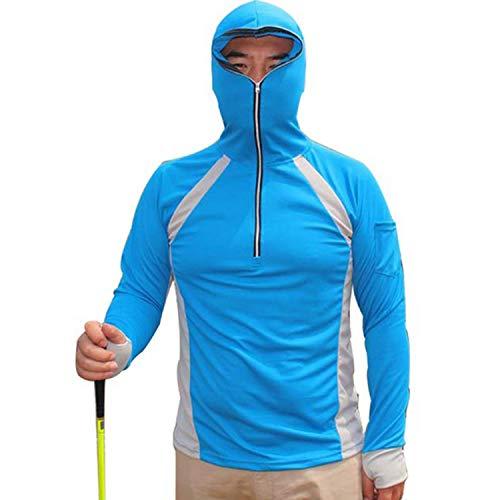 LANBAOSI Men's Anti-UV Sunscreen Protection Skin Coat Outdoor Quick Drying Fishing Shirts Blue ()