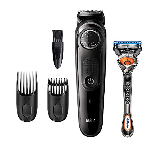 Braun Recortadora de Barba BT5242, Maquina Cortar Pelo, Recortadora de Barba y Cortapelos para Hombre, Cuchillas Afiladas de Larga Duracion, Color Negro/Gris