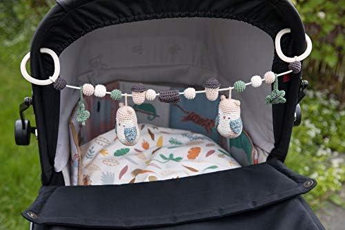Blinky die Eule Woodland Multicolor incl. Clips Baumwolle//Clips aus PP Kunststoff Sebra H/äkel-Kinderwagenkette 53 cm
