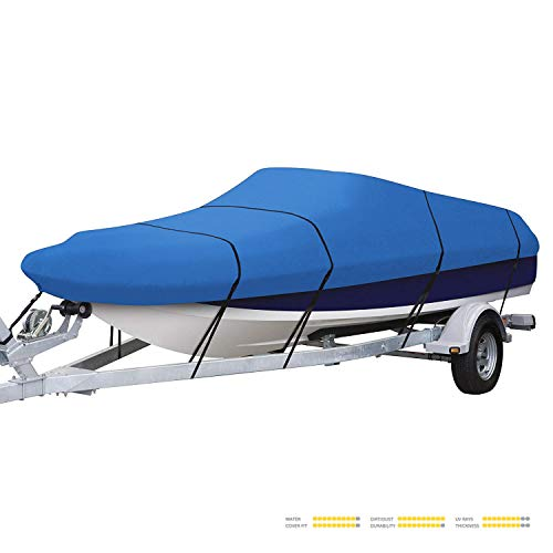 Trailerable Boat Cover Blue Polyester - Seamander Heavy Duty Trailerable Runabout Boat Cover 600D Polyester Waterproof (Pacific Blue, 17'-19'L Beam Width up to 96
