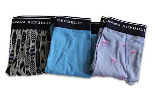 Banana Republic 3-Pairs Men's Knit Boxer Briefs (X-Large) Functional Fly Brief (Surfboards, Waves, Jellyfish) from Banana Republic Factory Store